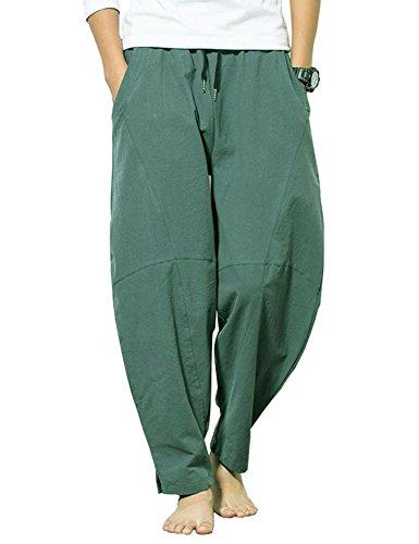 Banana Bucket Men's Casual Baggy Pants Drawstring Cotton Loose Harem Pants Lake Green
