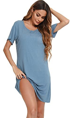 Vlazom Camisón Mujer Verano Camisones de Mujer Manga Corta Pijama Cuello Redondo Ropa de Dormir Suave y Transpirable S-XXL,Azul Cobalto,L