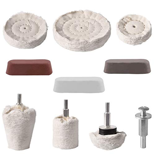 10 Pcs Polishing Wheel Kits, Dveda Buffing Pad for Drill, White Flannelette Polishing Wheel Cone/Column/Mushroom/T-Shaped Wheel Grinding Head, Rouge Compound & 1/4 Handle