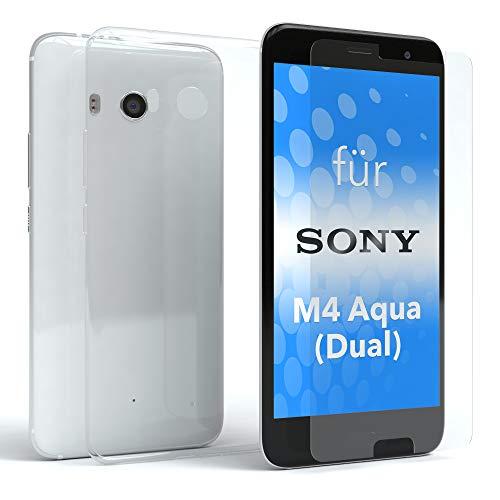 EAZY CASE Silikonhülle und Panzerglas im Set für Sony Xperia M4 Aqua (Dual) I Bildschirmschutzglas, Panzerglas nur 0,3 mm 9H Festigkeit, Schutzhülle Ultra dünn, Hülle, Backcover, Transparent/Kristallklar