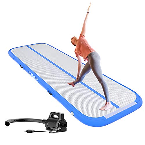 XUNLONG Esterilla hinchable para gimnasia, 3/4/5/6 m, esterilla de entrenamiento, 10 cm/20 cm de alto, con bomba de aire eléctrica para animadoras, gimnasia, agua, parque, uso en el hogar
