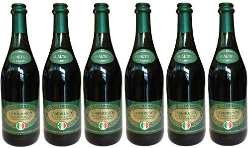 Lambrusco rosso dolce Gualtieri Dell`Emilia IGT mit Korkverschluss (6 x 0,75l) - Vino Frizzante - Roter Süßer Perlwein