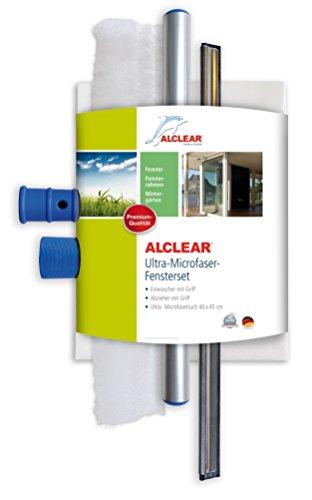 ALCLEAR 960008 Profi Fensterset mit Mikrofaser Fensterreiniger und Fenster Kombi Abzieher 35 cm, Microfaser Reiniger Fenstertuch, 3-teiliges Scheiben & Fensterwischer Set