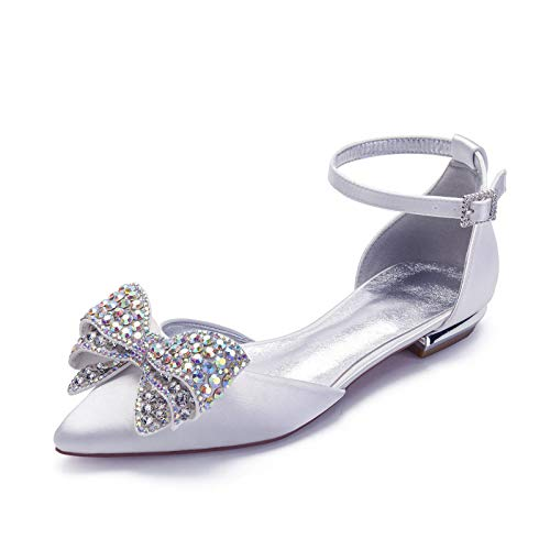 Charmstep Zapatos De Novia Planos para Mujer Bailarinas Correa De Tobillo Diamantes...