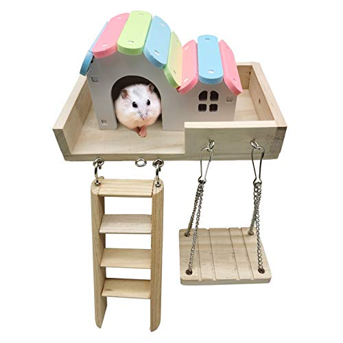 Hamster Platform Houses Hut,Wooden Hideout Swing Rat Playground Activity Set with Climbing Ladders Play Toys for Mouse,Gerbil, Small Animals