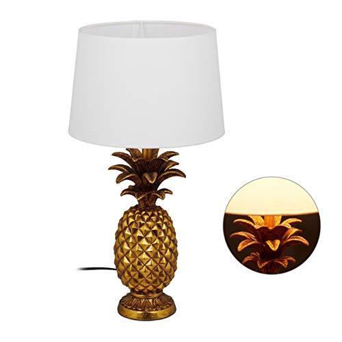 Relaxdays Tischlampe Ananas, moderne Lampe mit Stoffschirm, E27 Fassung, Dekolampe mit Kabel, H x D: 54 x 30 cm, gold