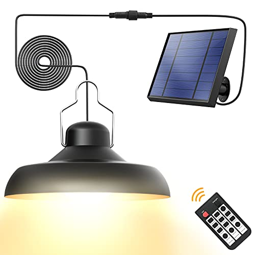 Solar Pendant Lights, Whousewe Solar Lights Outdoor IP65 Waterproof Solar Powered Shed Light Bright and Soft with Remote Control 3 Color Temperatures Solar Hanging Shed Lights for Barn Storage Patio