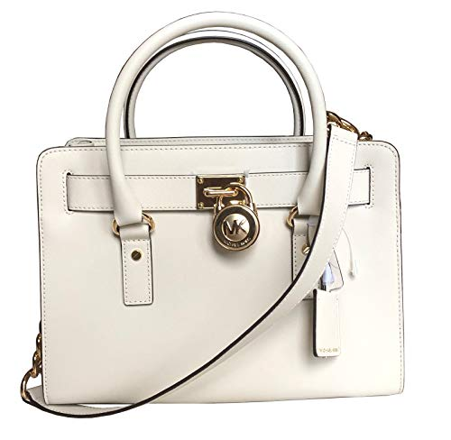 """Optic White Saffiano Leather, Golden Hardware Open Top with Magnetic Snap Fastening Interior Center zip compartment, 7 open slip pockets and 1 side zip pocket Handles with 4.5"""" drop; Comes with Shoulder Strap (cannot be detached) with 14.5"""" Drop 12.5..."""