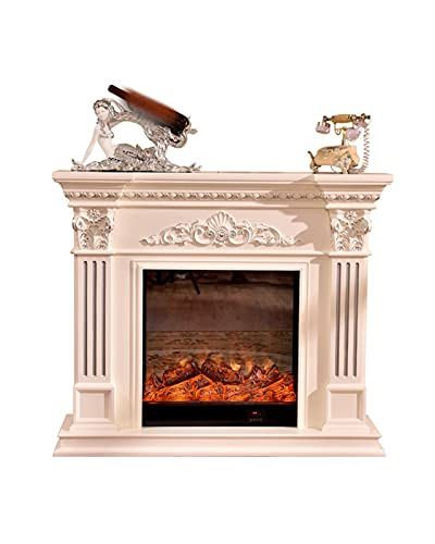 FGHJ Chimenea pastoral, chimenea de madera maciza, armario de chimenea eléctrico, núcleo decorativo para estufa (tamaño: P)