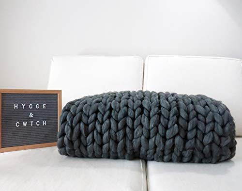 Chunky Knit Blanket | Hand Knitted Super Soft Giant Yarn Throw + Storage Bag | Vegan Wool Boho Accent Decor Housewarming Gift for Neutral Home Farmhouse Couch Sofa Bench Bed (50'x60', Graphite)