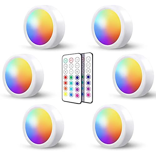 Luces Led Armario a Pilas Inalambrica,Regulable RGB Luz Vitrina LED con Mando a Distancia y Pulsador LED Cocina Bajo Mueble Sin Cable Foco LED Bateria Interior Lámpara Escalera Adhesiva Luz Nocturna