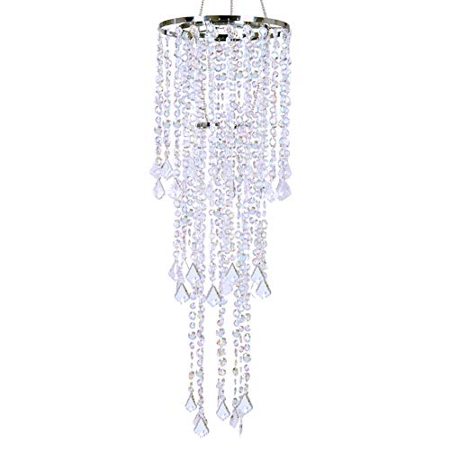 "FlavorThings Diamante Duo Delight Chandelier,Multi Shaped Beaded Faux Crystal Iridescent Chandelier,Chandelier for Wedding Centerpieces and Party Event Home Decorations,10.25"" Dia x 33.5"" Long"