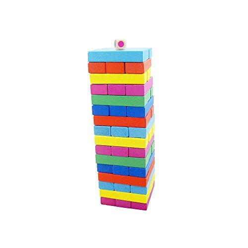 Fährmann 48 stücke Bunte Hölzerne Tumble Tower Spiel Bausteine Spielzeug Board Spiel für Kinder und Erwachsene