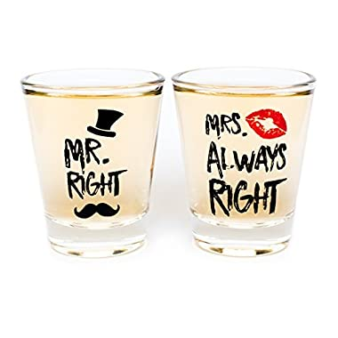 Funny Wedding Gifts - Mr. Right and Mrs. Always Right Novelty Shot Glasses - Engagement Gift or Anniversary Gift for Newlyweds and Couples