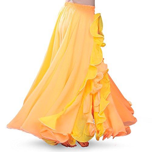 ROYAL SMEELA Bauchtanz Rock Flamenco Rock Damen Tanzkleidung Chiffon Schlitz Maxirock Doppelt Schicht Rüschen Big Swing Langer Rock Tanzkostüm Performance Kostüm Kleid