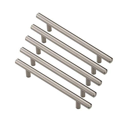 Skycraper - Juego de tiradores de cajón de acero inoxidable para cocina (128 mm), color negro