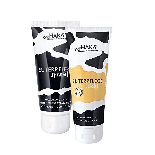 HAKA Euterpflege Set I Euterpflege Spezial 200ml + Euterpflege Leicht 200 ml I Feuchtigkeitscreme für strapazierte Haut I Sanfte Pflegecreme für trockene Hände und beanspruchte Haut I Ohne Parfum