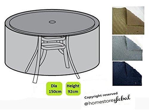 Homestore Global Grande Copertura per Set Bistro/Giardino Tavolo (Rotondo), Dimensioni: 150 (Dia.) X 92 (H) Cm – Grigio