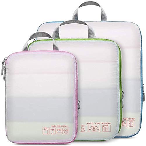 Compression Packing Cubes for Travel, Cambond 3 Set Luggage Organizers Compression Cubes