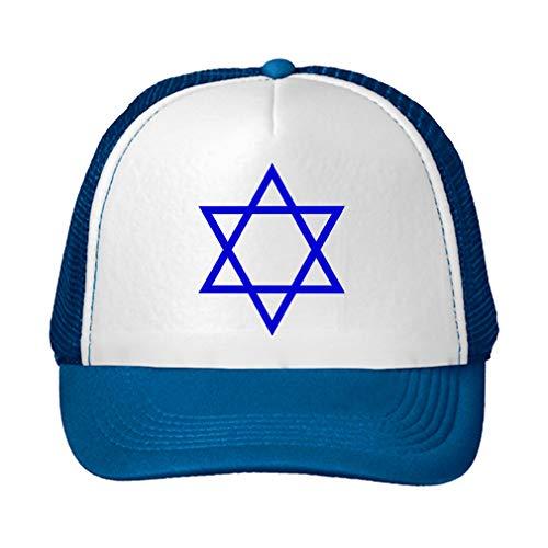 Trucker Hat Star of David Hanukkah #3 Polyester Baseball Mesh Cap Snaps Blue/Royal Blue One Size