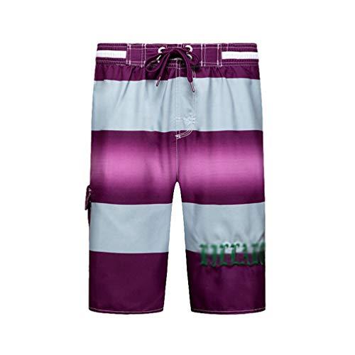 Kaiyei Pantalones Cortos de Playa Hombre Secado Rápido Tamaño Europeo Short de Baño con Cintura Elástica Forro Malla Casual Loose Vacaciones Viajar Surf Morado M