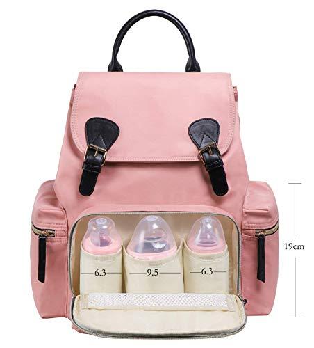 Grote luiertas, waterdichte babytas, rugzak mama | bevestiging van de kinderwagen | met schouderriem verstelbaar | veel vakken | Duitse verkoper roze