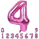 Numeros Cumpleaños 4, Foil Globo Número 4 Rosa, Globo Numero 4, Globo 4, Decoracion Cumpleaños Niña, Globos de Cumpleaños 4 Año, Decoracion Comunion Niña