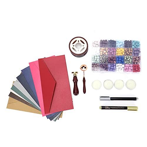Annjom Kit de Cera para sellar, 24 Colores, Cera para sellar, Calentador, Ahorro de Esfuerzo, fácil para Invitaciones de Boda, Tarjetas de felicitación para Manualidades, decoración para sellar