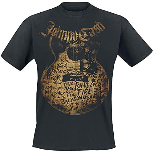 Johnny Cash Guitar Song Uomo T-Shirt Nero S 100% Cotone Regular