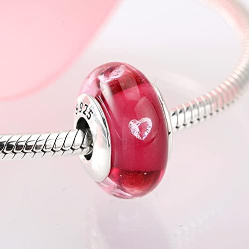 YYFHHK Encantos para Mujer 925 Cuentas Espaciadoras De Plata Esterlina Corazón Rosa Cuentas De Cristal De Murano Se Ajustan A Encantos Originales Pulsera Collar Joyería