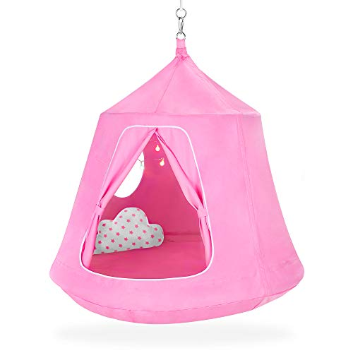 Best Choice Products Kids Indoor & Outdoor Hanging Hammock Swing Tent Set w/Inflatable Base, Ropes, and Multicolor LED String Lights, Pink