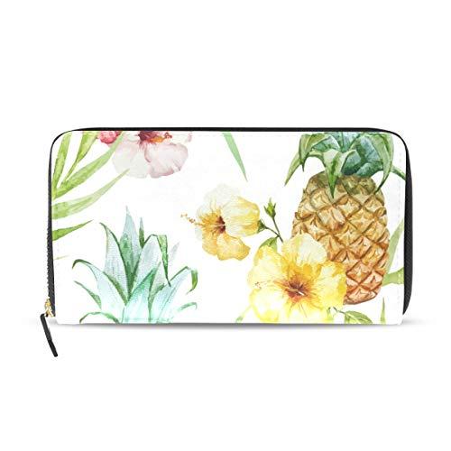 MONTOJ Portemonnaie und Portemonnaie aus Leder für Damen mit Ananas-Blume