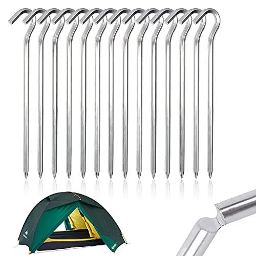 Piquetas para tiendas de campaña, 14 unidades, para tienda de campaña, clavos de aluminio, superficie lisa y fácil de transportar, 6 mm de grosor, 18 cm de longitud para camping exterior