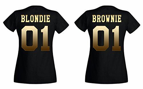 TRVPPY BFF - Maglietta da donna 'Blondie & Brownie' in diversi colori Biondia, oro e nero. S