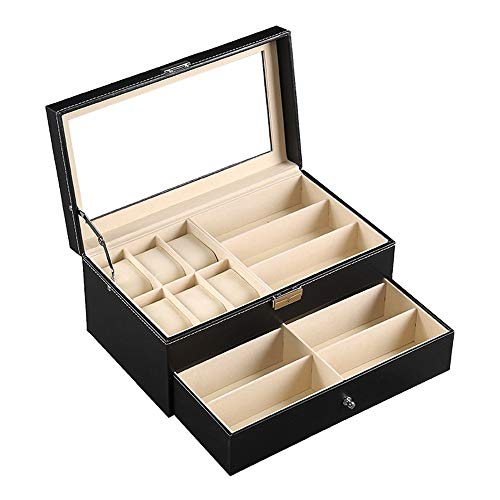 Caja de Regalo de Joyería Vintage 6 Capa doble Caja de reloj de gama alta de la PU del cuero gafas de sol de la caja de exhibición de la joyería de almacenamiento caja de reloj Coleccionista Retro