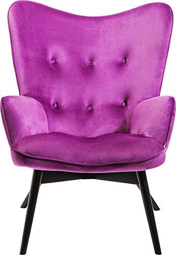 Kare Design Sessel Vicky Velvet, samtiger Loungesessel, TV-Sessel mit dunklem Holzgestell, (H/B/T) 92 x 59 x 63 cm, lila