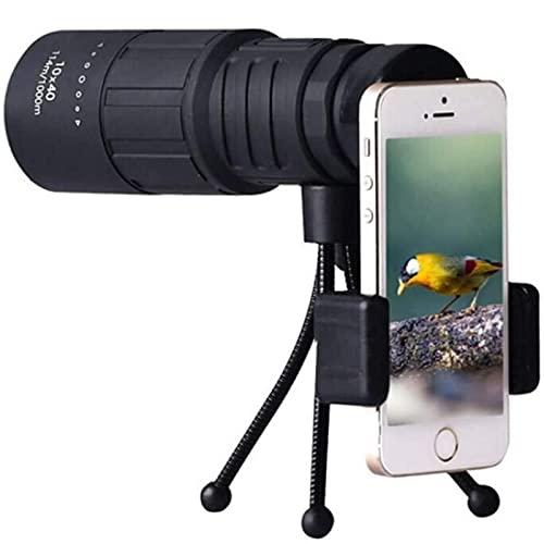 FGVDJ Telescopio monocular HD 10X40, portátil Impermeable a Prueba de Niebla para observación de Aves, Camping, Caza, con Soporte para teléfono Inteligente y trípode