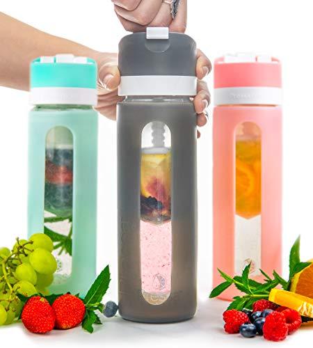 PRESSA Flasche Glas, Silikon, Anthrazit