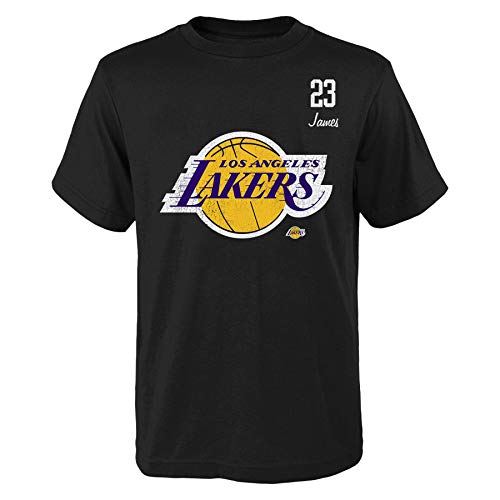 Outerstuff Distressed Player Los Angeles Lakers Lebron James Black - Camiseta, Negro , S
