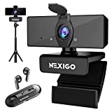 1080P Webcam Kits, 2021 NexiGo N660 FHD USB Web Camera with Privacy Cover, Air T2 Ultra-Thin Wireless Earbuds, Extendable Tripod Stand, for Zoom/Skype/Teams, MAC PC