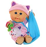 Cabbage Patch Kids 12.5' Naptime Babies - Bald/Blue Eye Girl Baby Doll (Pink Stripe Jumper Fashion)