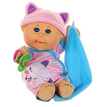 Cabbage Patch Kids 12.5  Naptime Babies - Bald/Blue Eye Girl Baby Doll  Pink Stripe Jumper Fashion