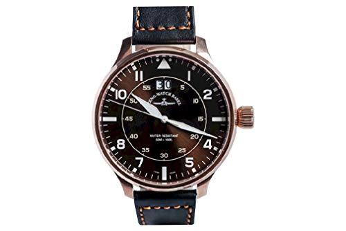 Zeno Watch Basel Reloj para Hombre Analógico Cuarzo con Brazalete Chapado en Oro 6221N-7003Q-Pgr-a6