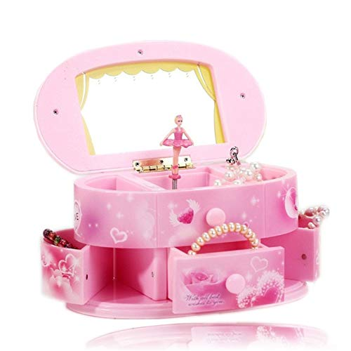 Cajas Musicales Accesorios Decorativos Rotación de la bailarina de la caja de música for enviar novia joyería del regalo de cumpleaños Música Rectángulos de plástico de almacenamiento de regalo de Nav