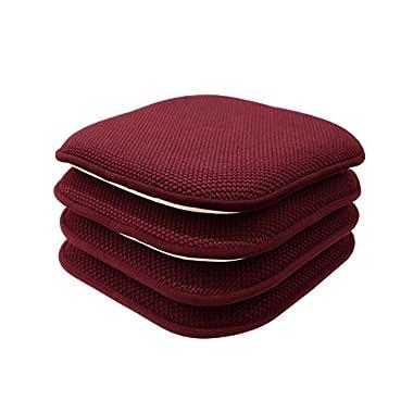 GoodGram 4 Pack Non Slip Honeycomb Premium Comfort Memory Foam Chair Pads/Cushions - Assorted Colors (Burgundy)