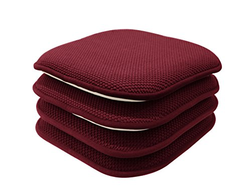 GoodGram 4 Pack Non Slip Ultra Soft Chenille Premium Comfort Memory Foam Chair Pads/Cushions - Assorted Colors (Country Burgundy)