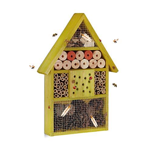 Relaxdays, vert Hôtel à insectes maison à papillon bois jard