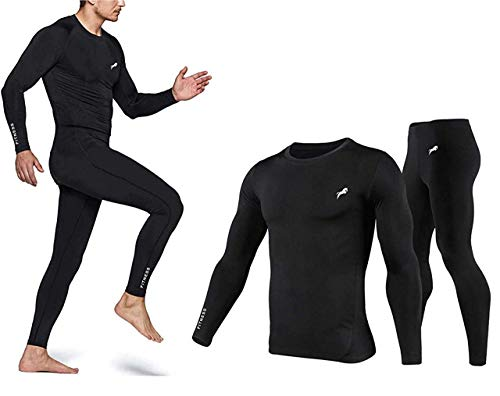 JUST RIDER Men's Sports Running Set Compression Shirt + Pants Skin-Tight Long Sleeves Quick Dry Fitness Tracksuit Gym Yoga Suits (Black, Medium)