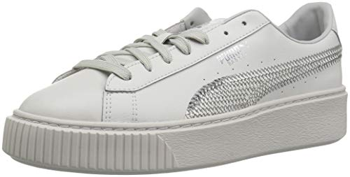 Puma Basket Platform Bling PS Grey Violet/Silver Ankle-High Leather Fashion Sneaker - 11M