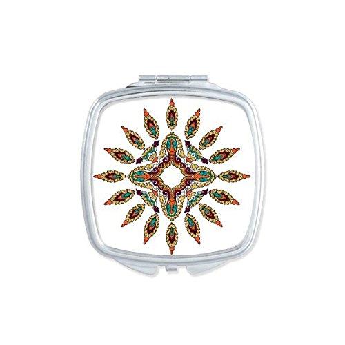 Boeddhisme Religie Boeddhistische Kleurrijke Asymmetrische Abstract Illustratie Patroon Vierkant Compact Make-up Pocket Spiegel Draagbare Leuke Kleine Hand Spiegels